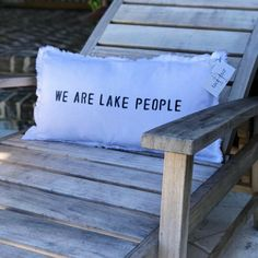 """The perfect lumbar accent pillow for a cabin or lake house. """"We are lake people""""… The perfect lumbar accent pillow for a cabin or lake house. """"We are lake people"""" is printed on a linen/cotton blend material. Featuring a frayed edge outline + down filled. Lake Decor, Lake Cabins, Lake Cottage, Designer Pillow, Inspired Homes, Accent Pillows, Throw Pillows, Illustration, Painting"""