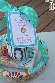 """This Mother's Day, our wish for you is the you'll have a few less dishes to do!"" Simple, Inexpensive, last-minute idea for Mom with a printable tag here :) cute idea!"