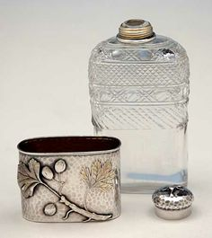 Parts to Tiffany & Co Antique Sterling Silver and Cut Glass Flask, New York City, c. 1877