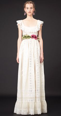 Classic romantic summer white dress with lace + floral embroidery belt details Valentino Resort 2015 #Resort15 #Fashion