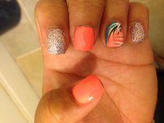 acrylic overlay coral and glitter nails w/ black/white/glitter/sea green design