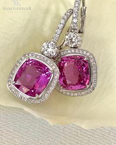 Diamond Jewelry Cushion Cut Pink Diamond Halo Drop Dangle Earrings White Gold Over Sapphire And Diamond Earrings, Sapphire Jewelry, Diamond Jewelry, Diamond Stud, Saphir Rose, Pink Jewelry, Vintage Jewelry, Jewelry Accessories, Ring Verlobung