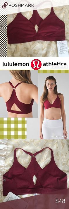 NWT Lululemon Free Spirt Bra, Rosewood, Sz 10 New with tags bra by Lululemon. Gorgeous rosewood color. Size 10. See 4th picture for product specifications. Please feel free to ask questions or bundle for 20% off. No trades. Thank you!  lululemon athletica Intimates & Sleepwear Bras