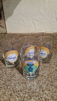 Vintage  Nolan Ryan  set of 4 glasses New Condition Three 5,000K, One 300 wins