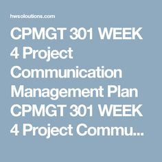 Cpmgt  Week  Project Management Plan Cpmgt  Week  Project