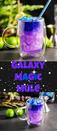 OMG YUSSSSSSSSS . Galaxy Magic Mule Moscow Mule, Vodka, butterfly pea flower, blue and purple, galaxy, unicorn, mermaid, rainbow, craft cocktails, craft cocktail, cocktail, cocktails, recipe, easy, drinks, summer, lime juice, vodka, ginger beer, color changing ice, magic, chemistry, straw, purple, blue, space, universe