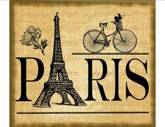 Paris sign Eiffel Tower bicycle flowers digital by GraphicalsTwo