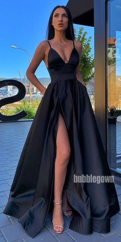 A-line Spaghetti Strap Side Slit Long Bridesmaid Prom Dresses - Long prom dresses Prom Dresses With Pockets, Pretty Prom Dresses, Black Prom Dresses, Prom Party Dresses, Ball Dresses, Cute Dresses, Prom Dresses Silk, Bridesmaid Dresses, Black Fancy Dress