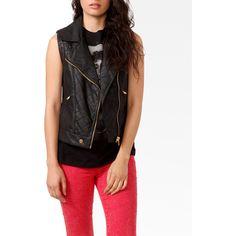 Studded Moto Vest ($33) ❤ liked on Polyvore