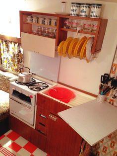 The kitchen area #vintagecaravan #classiccaravan #retrocaravan #1960s #traveltrailer #camper