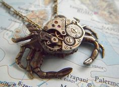 Steampunk Necklace Sand Crab Watch Movement Body