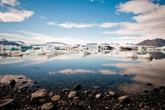Jokulsarlon glacier lagoon, where the freshwater melt from the glacier meets the saltwater sea.