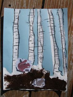 White Birch Tree Art to go with Book, Over and Under the Snow by Kate Messner