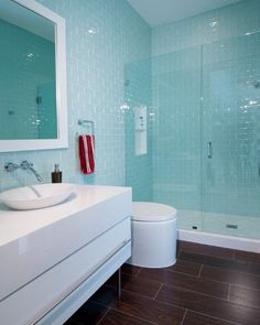 Thassos marble counter top, white glass subway shower tile walls and wood porcelain tile floors for the bathroom.