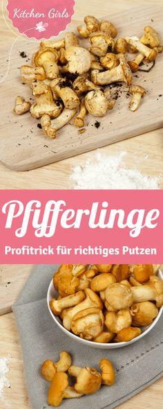 Wie wäscht man Pfifferlinge. Wir sagen es euch in unserer Anleitung zum Pfifferlinge putzen. Mit diesem Trick geht's schneller. Austrian Cuisine, Delicious Food, German, Breakfast, Tips, Yummy Food, Food And Drinks, Mushrooms, Tips And Tricks