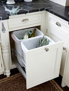 Better Bins  Designate an easy-to-use place for trash and recyclables. Bonus: Use trash or recycling days as a reminder t clean the fridge or pantry.  I like to bottle opener as well.
