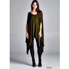 """Contemporary"" Loose Poncho Tunic Top Loose poncho tunic top. Available in black, olive, army green, steel and navy. This listing is for the OLIVE. Brand new. One size fits most (XS to XXL). NO TRADES DON'T ASK. Bare Anthology Tops Tunics"