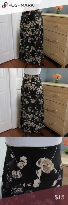 "Hana | Floral High Waisted Maxi Skirt Maxi, high-waist floral skirt. Light material, not stretchy. Side zipper. Tag is faded so can't see the original size, but it is a small size and measurements are below. Please check the measurements!  100% Polyester  12"" wide at waist 17.5"" wide at hips 37"" long  Offers welcome, or bundle 3 or more items for 20% off!  No trades, outside transactions, or holds. Hana Skirts Maxi"