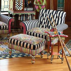 The Musette furniture collection is a bohemian mashup of velvets and twill, from paisleys to stripes and back again.