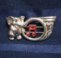 Vintage Funny Elephant w/ Horn Music Brooch, Retro Jewelry, Musical Notes Move!