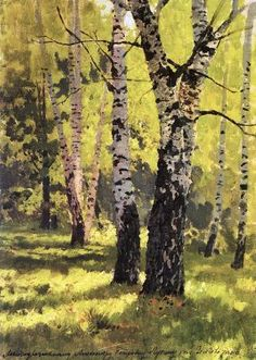 "Isaac Ilyich Levitan (Исаа́к Ильи́ч Левита́н; 1860 – † 1900) landscape painter who advanced the genre ""mood landscape"". Birch Grove"
