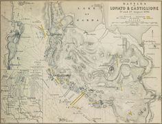 """The battle of Castiglione 5 August 1796.An antique plan of the """"Battles of Lonato & Castiglione 3rd and 5th August 1796"""" by Alexander Keith Johnston. F.R.G.S. published by William Blackwood and Sons in 1848. The plan shows the Cavalry, Infantry and Artillery of the French and Austrians."""