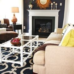 Our Navy Living Room - eclectic - living room - charlotte - Emily A. Clark