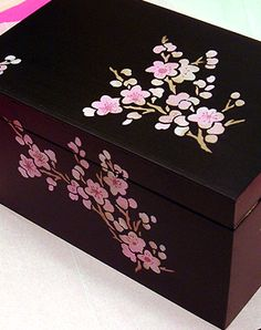 Hand Painted Black and Pink Blossom Box