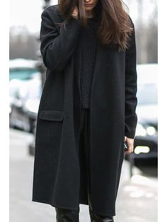 Solid Color Thicken Turn-Down Collar Long Sleeves Coat - BLACK S