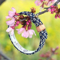 Japanese kimono bracelet. Genuine leather covered with