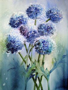Watercolour Florals - Globe Thistles - salt technique