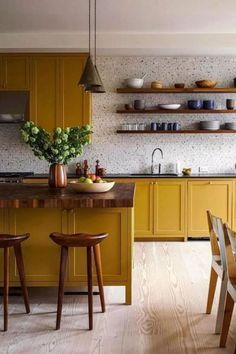 Kitchen Wallpaper Ideas (Country and Modern Kitchen Wallpaper) - How to decorate the kitchen wall? One of the beneficial we can do is applying kitchen wallpaper. With this article will give some kitchen wallpaper ideas. Kitchen Wallpaper, Kitchen Interior, Home Decor Kitchen, Yellow Kitchen Cabinets, Kitchen Remodel, Kitchen Decor, New Kitchen, Home Kitchens, Kitchen Design