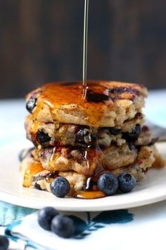 Light and fluffy vegan blueberry oatmeal pancakes