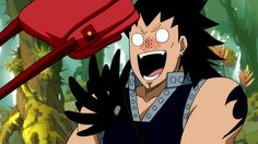 Levy hitting Gajeel with her purse...