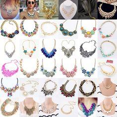 Hot Women Jewelry Pendant Crystal Choker Chunky Bib Statement Necklace Flower #OwnBrand #Bib