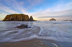 Morning on the beach in Bandon with incoming tide, sea stacks and Face Rock. Bandon Oregon, Oregon Coast, North Bend, Ocean, Patricia Davidson, Gallery, Beach, Water, Photography