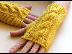 Saffron Wrist Warmers Cable Knit fingerless by bijouxboutique Fingerless Gloves Knitted, Crochet Gloves, Knit Mittens, Knit Or Crochet, Knitted Blankets, Knitting Club, Hand Knitting, Knitting Patterns, Wrist Warmers