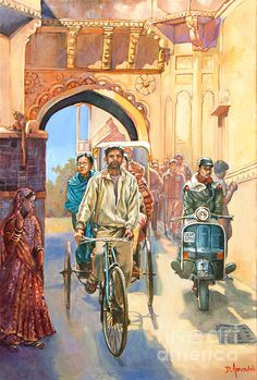 India Painting - India Street Scene With A Bicycle Rickshaw by Dominique Amendola Art And Illustration, Human Figure Sketches, Figure Sketching, Art Village, Art Sketches, Art Drawings, Composition Painting, India Street, India Painting