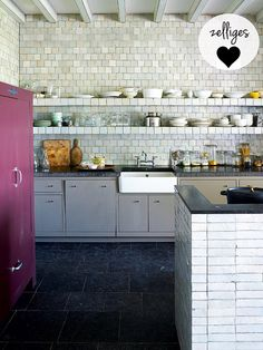 Love the tilework; even the shelves are made from zelliges! (picture via thestylefiles)