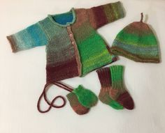 Luxury Knit Infant Sweater Set Mittens Hat Booties Quiltsy Handmade by lynndalou on Etsy