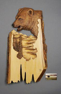 Ours Sculpté sur Bois Grizzli  en BoisArt MuraleArt par DavydovArt