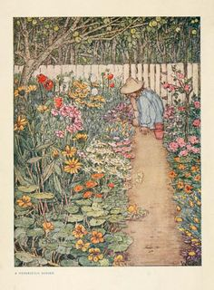 Posterazzi The Childrens Book of Gardening 1909 Herbaceous Border Canvas Art - Winifred Cayley-Robinson x Garden Illustration, Cute Illustration, Garden Painting, Garden Art, Garden Design, Herbaceous Border, Illustrations Posters, Art Inspo, Book Art