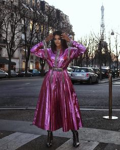 Techno Vibes by christopherkane via themodist Metallic Boots santoniofficial Long Sleeve Maxi, Maxi Dress With Sleeves, Metallic Boots, Runway Shoes, Cable Knit Jumper, Trending Now, Modest Fashion, Her Style, Techno