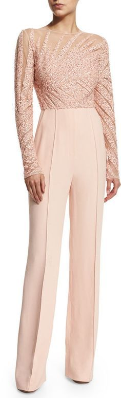 Elie Saab Long-Sleeve coral Jumpsuit,  @roressclothes closet ideas women fashion outfit clothing style