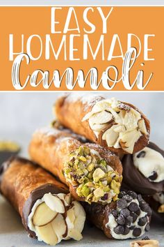 This homemade cannoli recipe is so easy to make, and the end results taste just as satisfying as one bought from an Italian bakery! The aromatic, crispy fried shells stuffed with creamy, sweetened ric Homemade Cannoli Recipe, Homemade Cannolis, Quick Dessert Recipes, Delicious Desserts, Eclairs, Italian Bakery, Italian Pastries, Italian Cookie Recipes, Puddings
