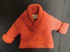 Vtg 1970 Ken Doll Clothes Barbie Mattel Allen Knit Red Sweater Fashion Pak Label