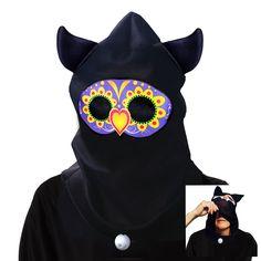 Day of the Dead See-Thru Sugar Skull Owl Hood