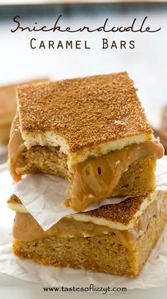 Three-layer Snickerdoodle Caramel Bars will have you head over heels! Soft, cinnamon blondies covered in smooth dulce de leche and topped with sweet white chocolate. You won't believe how good these are!