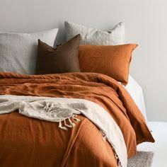 A&C Flax Linen Duvet Cover - Terracotta Dream Bedroom, Home Bedroom, Bedroom Decor, Bedrooms, Built In Bed, Terracota, Linen Duvet, Linen Bedroom, At Home Store