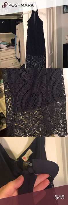 SOPHIE AND TREY (TRIA) FORMAL DRESS high neck navy blue, and crochet bottom with mini skirt underneath. one of buttons is missing (i have replacement in bag attached) but still very supportive. has slit in between the breasts. ends up being a midi skirt with the lace.   offers welcomed sophie and trey Dresses Midi